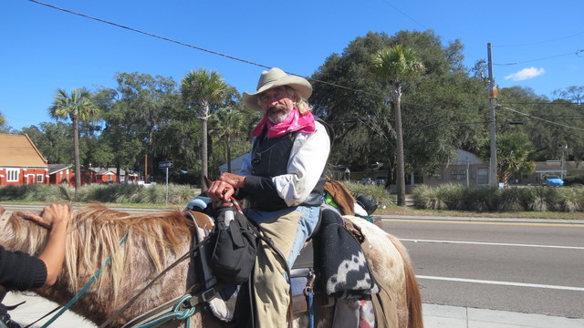 A cowboy in Jacksonville on a mission